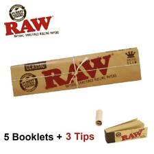 5 x Raw King Size Slim Rolling Paper with Tips Classic 3 x Roach Filter