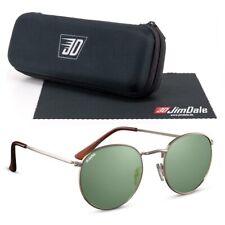 Jim Dale Vintage Sonnenbrille Rund UV400 Metall Markenbrille Herren Gold Grün