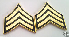 1 Pair (2) Us Army Rank E5 Sgt Green Military Veteran Hat / Collar Pins 14426 Ho