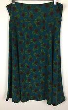 LuLaRoe Azure Skirt Size Large Blue Green Floral Stretch Elastic Waist NWOT L