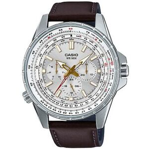Casio Enticer MTP-SW320L-7AV Watch For Men Multi Dial Genuine Leather Band