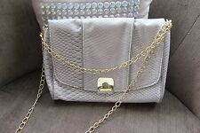Atmosphere Grey Reptile Bag with Gold Chunky fastening and Chain