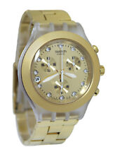 Swatch SVCK4032G Full Blooded Irony Diaphane Chromo Gold Unisex Watch NEW