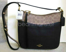 COACH 76355 CHAISE COLORBLOCK SIGNATURE LEATHER HOBO SHOULDER BAG Tan Black NEW