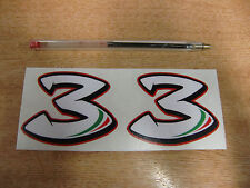 2x Max Biaggi #3 stickers - 70mm x 55mm decals - MotoGP SBK race numbers