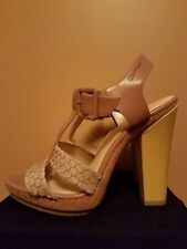 Calvin Klein Beige & Canary Yellow Patent Leather Heel Sandals US 10