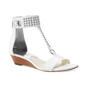 NEW  MICHAEL KORS Celena Wedge Sandals w/ Mini Studs, White, Leather, MSRP $150