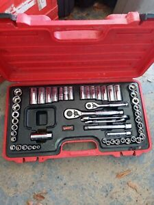 husky socket wrench set 54 piece in red case great condition
