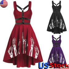 Womens Sexy Gothic Sleeveless Skater Dress Ladies Halloween Skull Print Dress US