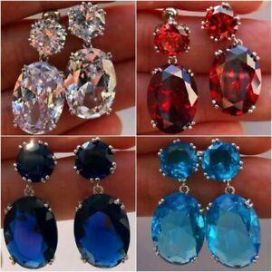 4 Colors Fashion Drop Earrings Women 925 Silver Jewelry Cubic Zircon A Pair/set