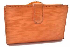Auth Louis Vuitton Epi Porte Monnaie Billets Viennois Bifold Wallet Orange A5646