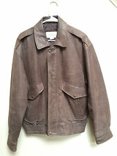 Authentic St. John's Bay men's size medium genuine leather brown jacket coat GUC