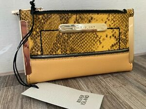 RIVER ISLAND yellow small snake print purse wallet new with tags