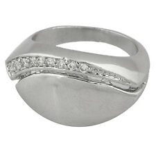 Fashion Womens Mens Boys eye pinky Ring 14K White Gold Plated Crystal Size 7