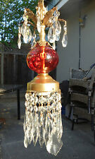 Vintage cranberry glass Brass tole hanging foyer lamp chandelier pendant lantern
