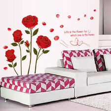 Red Rose Flowers Wall Sticker Decal Vinyl DIY Art Home Room Decor Removeable US