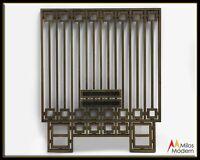 1920 Architectural Art Deco Large Bronze Security Bank Grate Teller Window