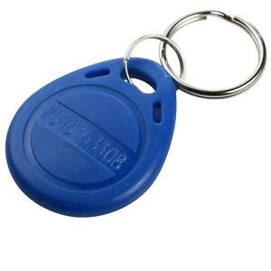 125khz RFID Proximity ID Card Keyfobs with Key Ring Water Resistant Blue 10Pack,
