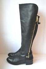 $199 SZ 7.5 Calvin Klein Gladys Black Leather Over The-Knee Stretch Women Boots