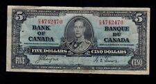 CANADA  5  DOLLARS 1937  C/S  PICK # 60c  FINE+.