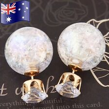 Stunning Cracked Glass Mosaic Double Ball Crystal Stud Earrings +FREE Gift Pouch
