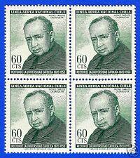 CHILE, MONSEÑOR CARLOS CASANUEVA, BLOCK OF FOUR,YEAR 1965, SCOTT # C258 AIR MAIL