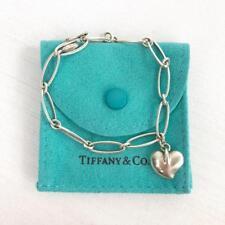 TIFFANY & CO Elsa Peretti Silver Chain Link Heart Charm Bracelet