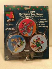 Mickey Disney 15 Light Illuminated Tree Plaques Christmas Vignette Lights New