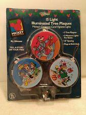 Mickey Disney 15 Light Illuminated Tree Plaques Christmas Vignette Lights New