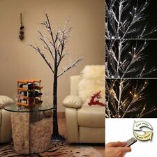 Remote Controlled Christmas Pre Lit LED Twig Tree 6ft/7ft - Colour & Warm Lights
