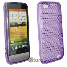 Cover for HTC ONE V Viola Diamond Silicone Gel + Display Film