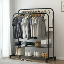 2-Tire 2 in 1 Heavy Duty Garment Rail Clothes Rack Hanger Stand Coat Shoes Rack
