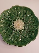 Majolica pottery lily pad comport Cake Plate Pedestal