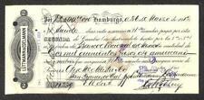 BILL OF EXCHANGE HAMBURGO MEXICO SECOND EXCHANGE BANK CHECK REVENUE STAMPS 1912