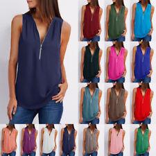 UK Womens Chiffon Blouse Cami Sweatshirt Gym Zip Vest Beach Casual Stylish Tops