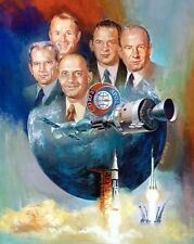 NASA US RUSSIA APOLLO SOYUZ JOINT SPACE MISSION OIL PAINTING ART POSTER PRINT
