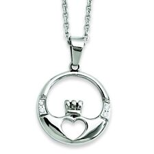 "Ladies Chisel® Stainless Steel Claddagh with CZ's 20"" Charm Pendant Necklace Set"