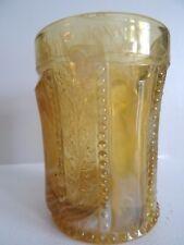 Joe St. Clair Art Glass Amber Yellow SLAG TUMBLER Beaded HOLLY BAND Berry