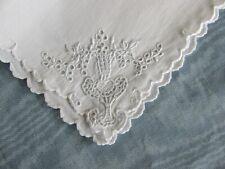 10 Vintage Madeira Embroidered White Linen Napkins Flower Vase Urn