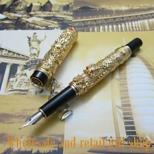 """Jinhao """"double Dragons Playing With The Pearl"""" Beautiful gold Fountain Pen"""