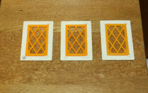 Dolls' House Miniatures - Plastic window frame/lattice windows x 3