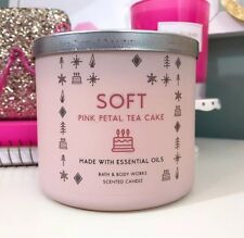 Bath & Body Works Soft Pink Petal Tea Cake 14.5 Oz Large 3 Wick Scented Candle