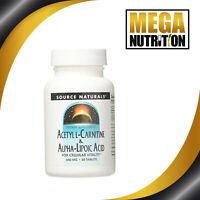 Source Naturals Acetyl L-Carnitine & Alpha Lipoic Acid 650mg | 60 Tablets