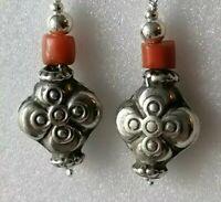 Sterling Silver Vintage Art Deco Coral Bead Ethnic 925 Drop Dangle Hook Earrings