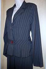 no boundaries charcoal/pale pink pinstripe stretch pants suit Juniors 5 New