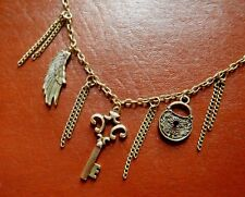 STEAMPUNK PADLOCK WING & SKELETON KEY NECKLACE tassel& cluster chain bronze E5