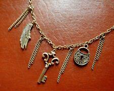 STEAMPUNK PADLOCK WING & SKELETON KEY NECKLACE tassel& cluster chain bronze NEW
