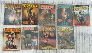 Lot Of 9 Vintage Creepy Eerie Monster Horror Magazines Comics 1970's