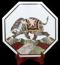 "12"" Marble Tea Coffee Table Corner Top Elepahant Stone Inlaid Art Homedecor Gift"