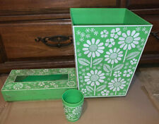 Mid-Century Floral Daisy's Green & White,Waste Basket 3pc Set,Mirra Cote